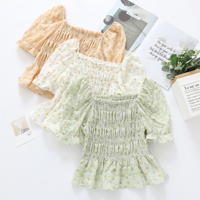 Summer New Waist Slimming Square Collar Floral Pleated Short-sleeved Shirt NSYID57143