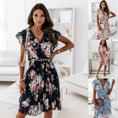 New Style Fluttering Sleeves Waisted Floral Pleated Dress NSJC57128