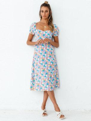Summer New Short-sleeved Square-neck Printed Dress  NSJC57126