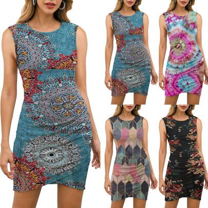 Spring And Summer New Sleeveless Round Neck Printed Dress NSYIS57125