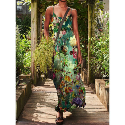 Spring And Summer New Summer Sling Print Dress NSYIS57123