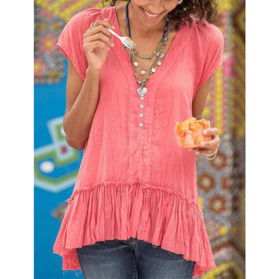 Spring And Summer New Solid Color Buttons V-neck Pleated Blouse NSYIS57103
