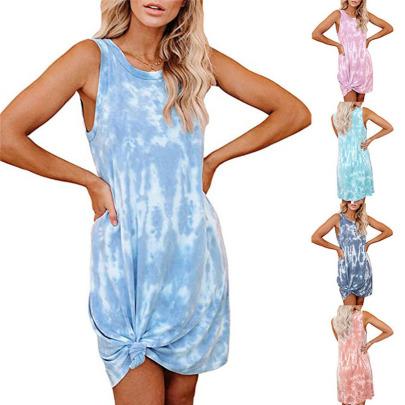 Spring/Summer New Tie-dye Printed Loose Vest Dress NSYIS57100