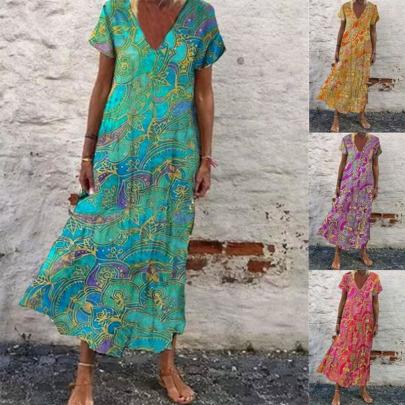 Spring/Summer New Printed Hot Style V-neck Short-sleeved Long Skirt NSYIS57099