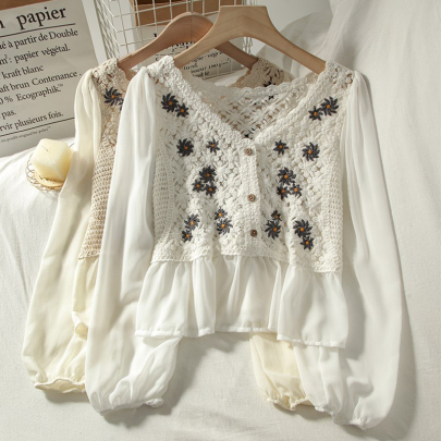 Summer New Embroidery Loose Casual Fashion Top NSSUO57090