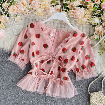 Summer New Style Embroidered Blouse Shirt NSSUO57089