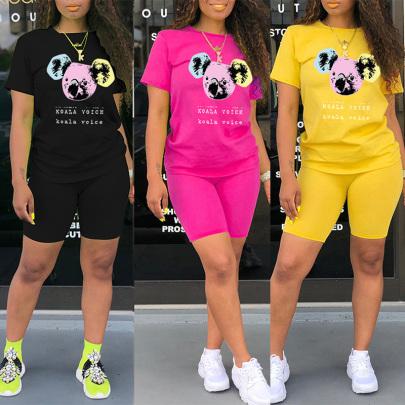 Cartoon Anime Bear Print Round Neck T-shirt Shorts Two-piece Set NSYAY57085