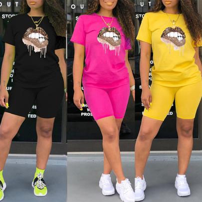 Leopard Color Big Lips Print Round Neck T-shirt Shorts Two-piece Set NSYAY57083