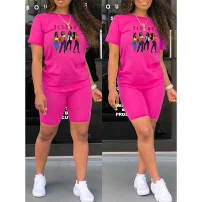 Cartoon Girl Print Round Neck T-shirt Shorts Two-piece Set NSYAY57082
