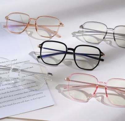 Black Transparent Ultra Light Flat Light Big Face Retro Glasses NSXU57269