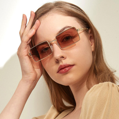 Metal Square Small Frame Sunglasses NSXU57274