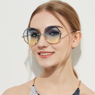 Frameless Diamond Cut Round Retro Glasses  NSXU57278