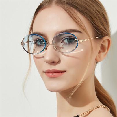 Diamond Cut Retro Oval Crystal Texture Glasses NSXU57279