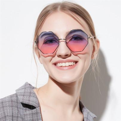 Square Diamond Polygon Color Transparent Lens Sunglasses NSXU57287