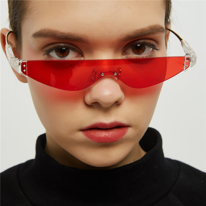Semi-metal Triangle Cat Transparent Color Retro Sunglasses NSXU57289