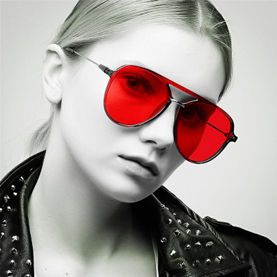 Color Lens Popular Double Beam Red Toad Mirror Glasses NSXU57300