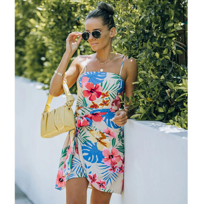 Summer New Floral Print Sling Straps Irregular Dress NSJIM57367
