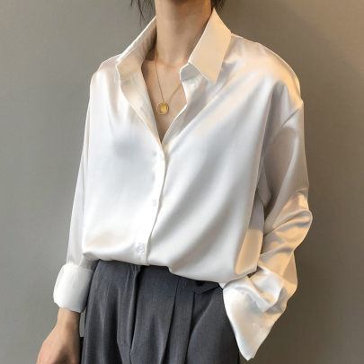 Spring Fashion Loose And Thin Long-sleeved Lapel Solid Color All-match Shirt NSSUO57365
