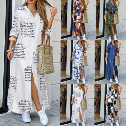 Autumn Fashion Long Sleeve Lapel Printed Long Sleeve Shirt Dress NSSUO57362