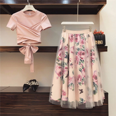 Two-piece Summer Sexy Sexy High-waist Mesh Printed Skirt NSSUO57355
