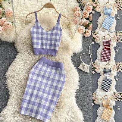 Sling Bottoming Knitted Bag Hip Skirt Plaid Set NSSUO57342