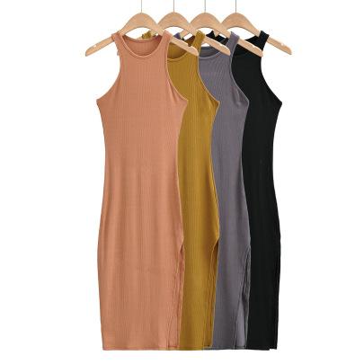 Round Neck Side Slit Sexy Elastic Summer Dress NSAC57462