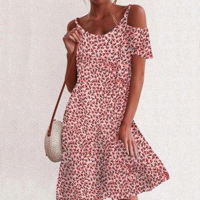 Summer New Small Floral Print Loose Strapless Short-sleeved Dress Short Skirt NSJIM57693