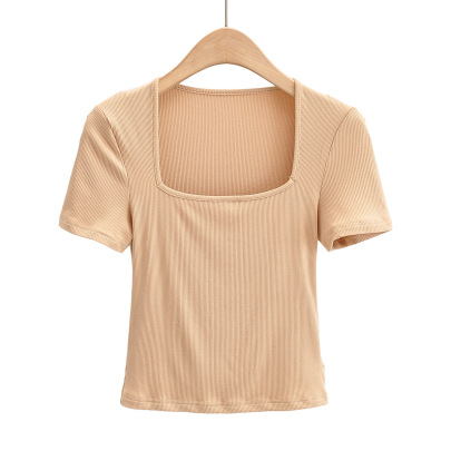 Square Neck Short-sleeved Summer New Slim And Thin T-shirt NSAC57512