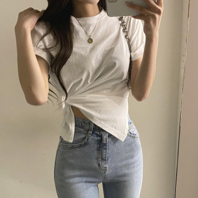 New Irregular Knotted Short-sleeved T-shirt NSLQ57530