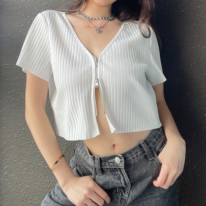 New Style Zipper V-neck Shirt Summer Cardigan NSLQ57531