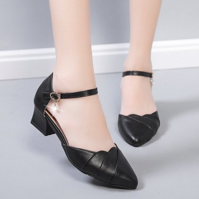 Fashion Buckle Thick Heel Leather Sandals NSZSC57544