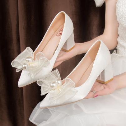 Fashion Chiffon Bow Decor Thick Heel Crystal Shoes NSZSC57545