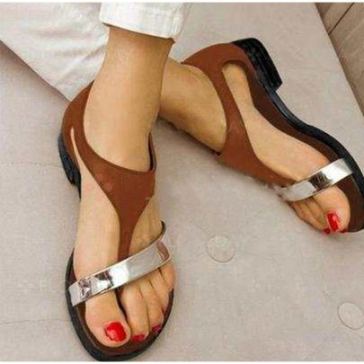 Bohemian Buckle Color Matching Flat Heel Round Slippers NSZSC57548