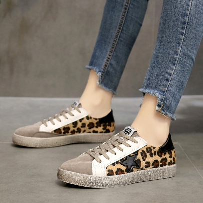 Lace-up Distressed Leopard Print Five-pointed Star Shoes  NSZSC57554