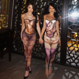 Painting Printing Straps Waist Jumpsuit Stitching Fashion Set NSRUI57560