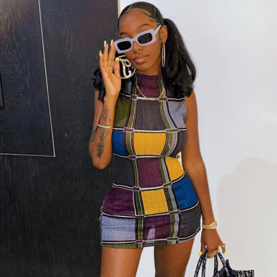 Summer Color Plaid Stitching Hit Color Long-sleeved Round Neck Tight-fitting Hip Dress NSRUI57561