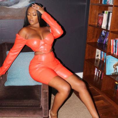 New Sexy Orange Irregular Waist Leather Shorts Set NSRUI57565