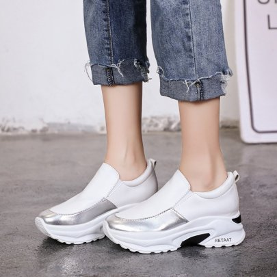 Fashion Splicing Silver Printed Thick Casual Sneakers NSZSC57595