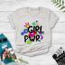 Colorblock graffiti girl pwr print short-sleeved T-shirt NSYAY57681