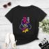 Cartoon sound woodpecker print casual short-sleeved T-shirt women NSYAY57680