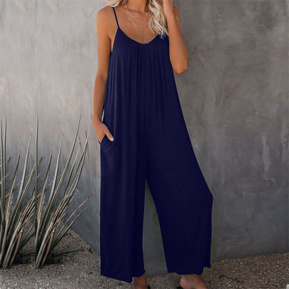 Spring And Summer New Sling Wide Loose Leg Jumpsuit NSYIS57676