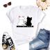 Cartoon cat high definition print short-sleeved T-shirt women NSYAY57674