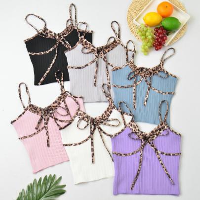 Leopard Print Stitching Lace Sling Bottoming Vest NSYAY57667