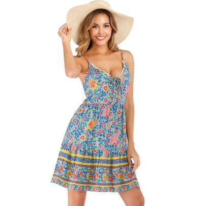 Summer New Sexy Sling Ruffle Print Dress NSJIM57661