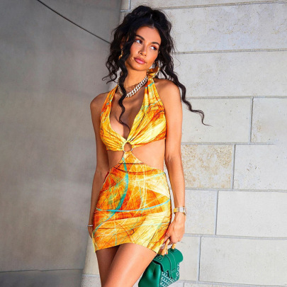 Spring And Summer New Hanging Neck Halter Lace Sexy Low-cut Hip Dress NSDLS57700