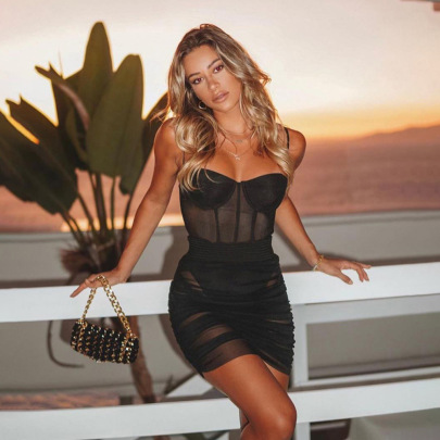 Spring Clothing New Nightclub Sexy Mesh See-through Strap Bag Hip Dress NSDLS57715