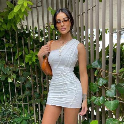 New Fashion Street Style Oblique Shoulder Halter Stitching Slim Dress NSDLS57719