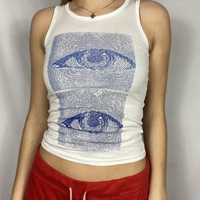 Big Eye Printing Contrast Color Sleeveless Basic Jersey Vest NSRUI57728