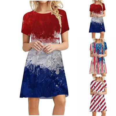 American Flag Print Round Neck Dress NSYF57737