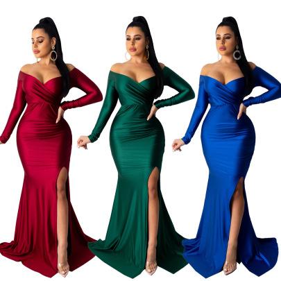 Sexy V-neck Solid Color Big Slit Long Skirt  NSALI57764